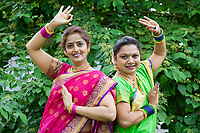 Two Women Indian Folk Dancers, NW Folklife Festival, Seattle, WA, USA.
