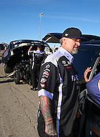 Mar 30, 2014; Las Vegas, NV, USA; Jesse James , husband of NHRA funny car driver Alexis DeJoria (not pictured) after winning the Summitracing.com Nationals at The Strip at Las Vegas Motor Speedway. Mandatory Credit: Mark J. Rebilas-