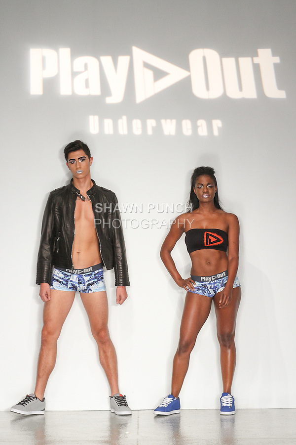 Models pose on runway in outfits from the Play Out Underwear Spring Summer 2015 collection by Sylvie Lardeux and Abby Sugar, during LingerieFW Spring Summer 2015.