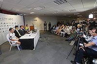 Pictured: Press conference under way<br /> Re: Official launch of the 2013-2014 Swansea City Football Club kit launch, with sponsors Goldenway GWFX at the Liberty Stadium, Swansea, south Wales. Friday 28th of June 2013