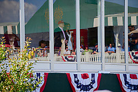 President and Mrs. Trump watch behind the 16th tee box during Sunday's final round of the 72nd U.S. Women's Open Championship, at Trump National Golf Club, Bedminster, New Jersey. 7/16/2017.<br /> Picture: Golffile | Ken Murray<br /> <br /> <br /> All photo usage must carry mandatory copyright credit (&copy; Golffile | Ken Murray)