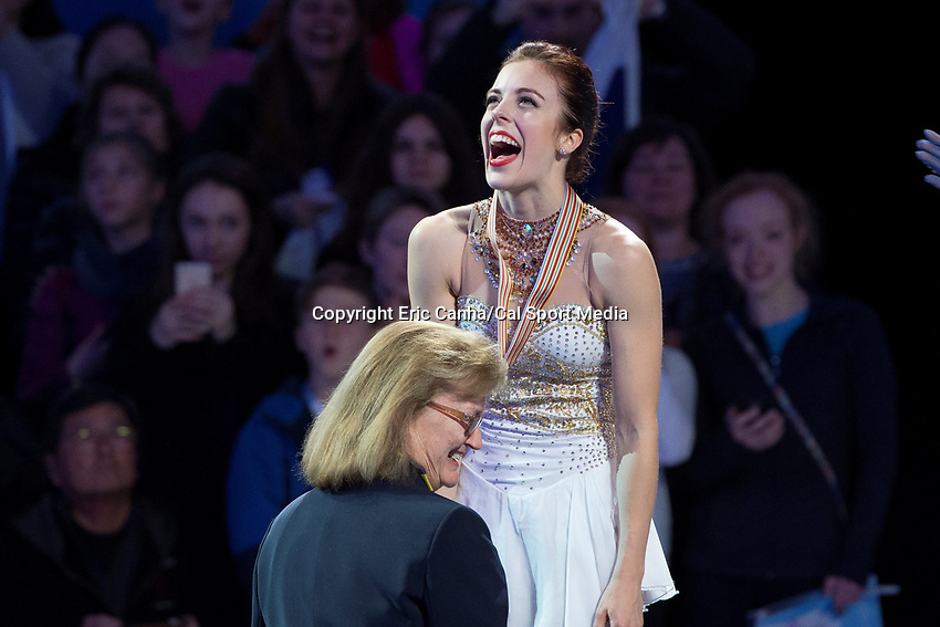 Saturday, April 2, 2016: 2016 International Skating Union silver medalist Ashley Wagner (USA) reacts as she receives her medal at the ISU World Championship held at TD Garden, in Boston, Massachusetts. Eric Canha/CSM