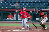 AZL Angels catcher Mario Sanjur (86) hits during a game against the AZL Giants on July 10, 2017 at Scottsdale Stadium in Scottsdale, Arizona. AZL Giants defeated the AZL Angels 3-2. (Zachary Lucy/Four Seam Images)