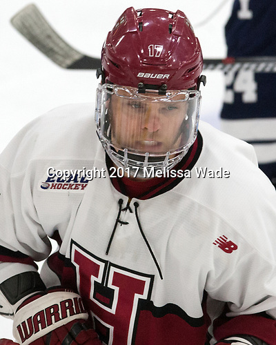 Sean Malone (Harvard - 17) - The Harvard University Crimson tied the visiting Yale University Bulldogs 1-1 on Saturday, January 21, 2017, at the Bright-Landry Hockey Center in Boston, Massachusetts.