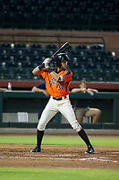 AZL Giants shortstop Francisco Medina (37) at bat against the AZL Brewers on August 15, 2017 at Scottsdale Stadium in Scottsdale, Arizona. AZL Giants defeated the AZL Brewers 4-3. (Zachary Lucy/Four Seam Images)