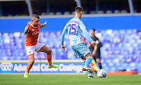 Coventry City's Zain Westbrooke under pressure from Blackpool's Jay Spearing<br /> <br /> Photographer Chris Vaughan/CameraSport<br /> <br /> The EFL Sky Bet League One - Coventry City v Blackpool - Saturday 7th September 2019 - St Andrew's - Birmingham<br /> <br /> World Copyright © 2019 CameraSport. All rights reserved. 43 Linden Ave. Countesthorpe. Leicester. England. LE8 5PG - Tel: +44 (0) 116 277 4147 - admin@camerasport.com - www.camerasport.com