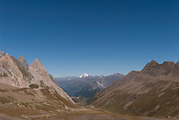 View to the northeast from the Col de la Seigne with the southwest face of Mt. Blanc, with Mount Rosa in the far distance.