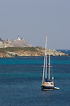 Sailboat at anchor, sailing Corsica, Genoese watch towers, Cap Corse, Cape Corse, Haute Corse, Corsican beaches, Genoise architecture, Genoese architecture, Corsica, France, Mediterranean Coast,