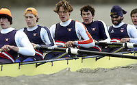 2005 Varsity Boat Race - Pre race fixtures - Putney, London., ENGLAND; left to right,  stroke. Josh Inman, 7. Gijs Vermeulen, 6. Sjoerd Hamburger, 5. Mark Flickinger, 4. Matt Hughes, .Photo  Peter Spurrier. .email images@intersport-images...[Mandatory Credit Peter Spurrier/ Intersport Images] Varsity:Boat Race Rowing Course: River Thames, Championship course, Putney to Mortlake 4.25 Miles