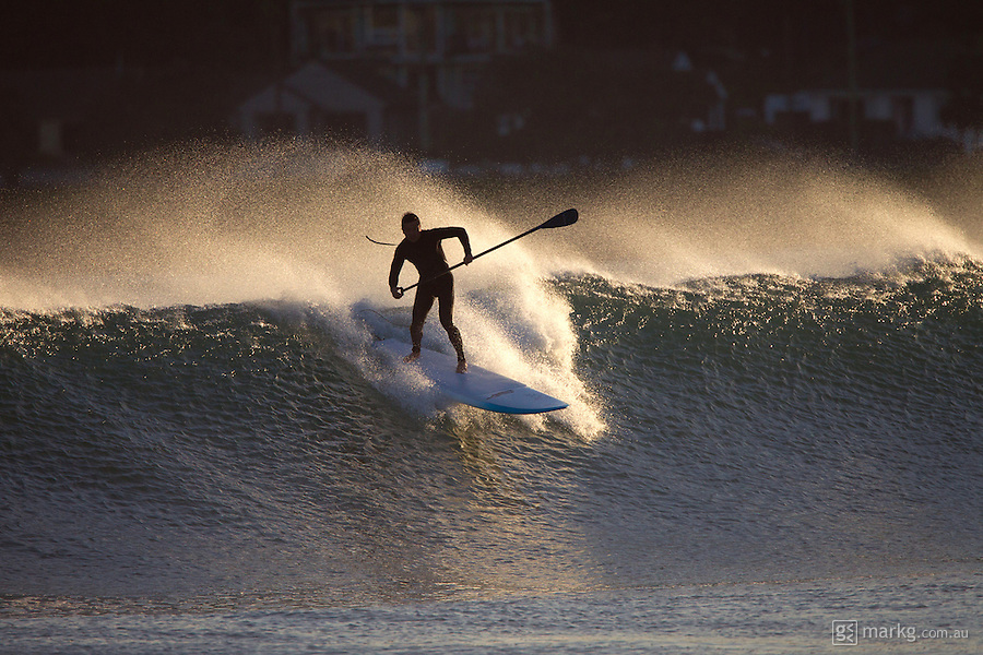A late afternoon SUP session at Lyall Bay for Lawrence Young during a nice little ground swell.