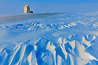 Grain elevator and wind sculptured snow<br /> WIllows<br /> Saskatchewan<br /> Canada