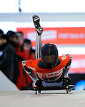 14 December 2007: Maggie Davies, racing for Great Britain, starts her second run of the FIBT World Cup Skeleton Competition at the Olympic Sports Complex on Mount Van Hoevenberg, at Lake Placid, New York, USA. ..Mandatory Photo Credit: Ed Wolfstein Photo