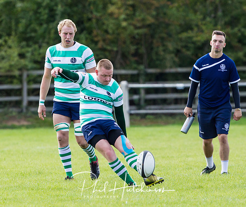 Leicester, England, 9th, September, 2017. <br /> <br /> Action in the National League 2 North rugby union match between Leicester Lions rfc and South Leicester rfc.  Rickie Aley in kicking action for South Leicester<br /> <br /> <br /> <br /> <br /> &copy; Phil Hutchinson