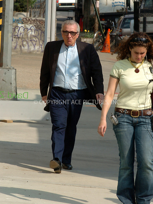 WWW.ACEPIXS.COM ** ** **EXCLUSIVE!!! FEE MUST BE NEGOTIATED BEFORE USE!!!....NEW YORK, APRIL 20, 2005....Martin Scorsese at a downtown photo set along with Jack Nicholson. It looks as though Martin Scorsese is delivering some kind of script to an on site trailer.....Please byline: Philip Vaughan -- ACE PICTURES... *** ***  ..Ace Pictures, Inc:  ..Craig Ashby (212) 243-8787..e-mail: picturedesk@acepixs.com..web: http://www.acepixs.com