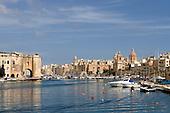 Maltese City of Birgu (Vittoriosa) with Grand Harbour Marina, Malta, modern,