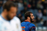 Rugby, Torneo Sei Nazioni: Italia vs Francia. Roma, stadio Olimpico, 15 marzo 2015.<br /> France's Yoann Maestri reacts after scoring a try during the Six Nations championship rugby match between Italy and France at Rome's Olympic stadium, 15 March 2015.<br /> UPDATE IMAGES PRESS/Riccardo De Luca