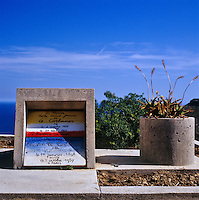 The grave of Le Corbusier and his wife in the cemetery at Roquebrune-Cap-Martin - the headstone was Le Corbusier's own design