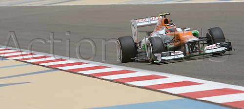 20.04.2012 German Formula One driver Nico Huelkenberg of Force India steers his car during the first practice session on the Bahrain International Circuit in Sakhir, near Manama, Bahrain.