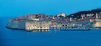 Stock photos of Nightime Dubrovnik Port with St John's Fort - Croatia