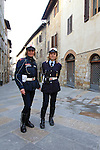 Local police at sign on before the start of the 2014 Strade Bianche race over the white dusty gravel roads of Tuscany, Italy. 8th March 2014.<br /> Picture: Eoin Clarke www.newsfile.ie