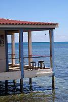 Two stools on the deck of Anastasia's restaurant and Bar on Big Corn Island, Nicaragua