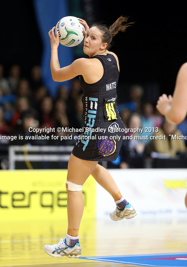 30.06.2013 Magic's Khoa Watts in action during the ANZ Champs Preliminary Semi Final netball match between the Magic and Firebirds played at Claudelands Arena in Hamilton. Mandatory Photo Credit ©Michael Bradley.