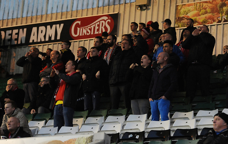 Fleetwood Town fans watch their team in action <br /> <br /> Photographer Kevin Barnes/CameraSport<br /> <br /> The EFL Sky Bet League One - Plymouth Argyle v Fleetwood Town - Saturday 24th November 2018 - Home Park - Plymouth<br /> <br /> World Copyright © 2018 CameraSport. All rights reserved. 43 Linden Ave. Countesthorpe. Leicester. England. LE8 5PG - Tel: +44 (0) 116 277 4147 - admin@camerasport.com - www.camerasport.com
