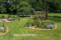 63821-20008 Backyard with island flower beds, gazebo, blue bird bath, chairs, Marion Co., IL