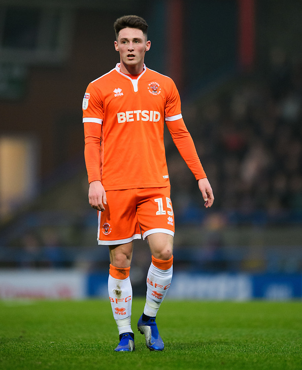 Blackpool's Jordan Thompson <br /> <br /> Photographer Chris Vaughan/CameraSport<br /> <br /> The EFL Sky Bet League One - Rochdale v Blackpool - Wednesday 26th December 2018 - Spotland Stadium - Rochdale<br /> <br /> World Copyright © 2018 CameraSport. All rights reserved. 43 Linden Ave. Countesthorpe. Leicester. England. LE8 5PG - Tel: +44 (0) 116 277 4147 - admin@camerasport.com - www.camerasport.com