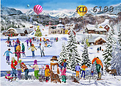 Interlitho-Franco, CHRISTMAS LANDSCAPES, WEIHNACHTEN WINTERLANDSCHAFTEN, NAVIDAD PAISAJES DE INVIERNO,skating,alpes,balloon,balloons,winter paintings+++++,landscape,KL6183,#xl#,puzzle,puzzles,