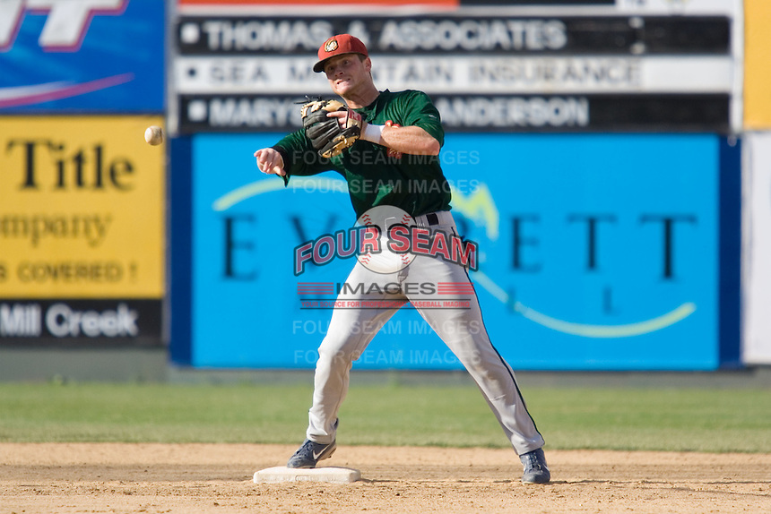 July 19, 2007: Boise Hawks' infielder Bill Moss gets in some work at second base during batting practice prior to playing the Everett AquaSox in a Northwest League game at Everett Memorial Stadium in Everett, Washington.