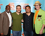 Ken Roberson, Jeff Marx, Robert Lopez and Rick Lyon attends the 'Avenue Q' - 15th Anniversary Performance Celebration at Novotel on July 31, 2018 in New York City.