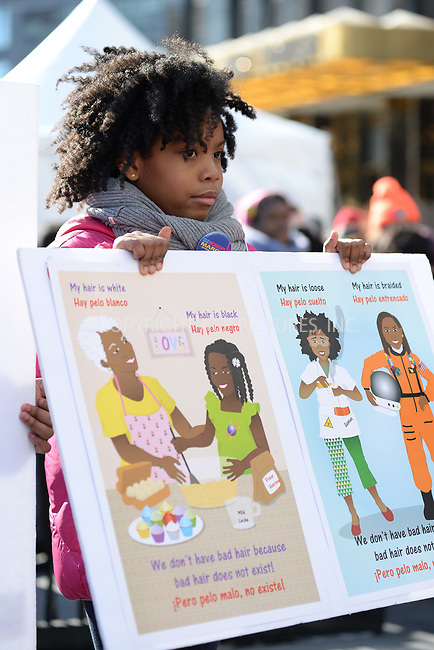 www.acepixs.com<br /> January 20, 2018  New York City<br /> <br /> Sulma Arzu-Brown's daughter on stage at the Women's March on January 20, 2018 in New York City.<br /> <br /> Credit: Kristin Callahan/ACE Pictures<br /> <br /> Tel: 646 769 0430<br /> Email: info@acepixs.com