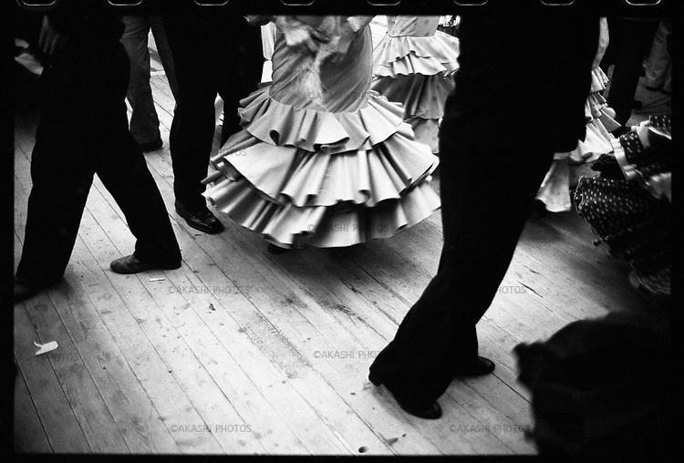 Flamenco dancers during Feria de Abril in Barcelona.