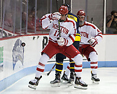 Dante Fabbro (BU - 17), Jace Hennig (Merrimack - 9), Brandon Hickey (BU - 4) - The visiting Merrimack College Warriors defeated the Boston University Terriers 4-1 to complete a regular season sweep on Friday, January 27, 2017, at Agganis Arena in Boston, Massachusetts.The visiting Merrimack College Warriors defeated the Boston University Terriers 4-1 to complete a regular season sweep on Friday, January 27, 2017, at Agganis Arena in Boston, Massachusetts.