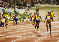 Aleen Bailey(527) 22.96sec. edging Bianca Knight(630) 23.15sec. in the 200m at the Jamaica International Invitational Meet on Saturday, May 2nd. 2009. Photo by Errol Anderson, The Sporting Image.net