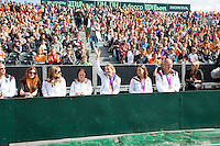 15-09-12, Netherlands, Amsterdam, Tennis, Daviscup Netherlands-Suisse, Paralympic players attending Daviscup, Two time gold medal winner Esther Vergeer waves to the supporters