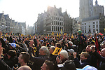 Huge crowds at the team presentation in Antwerp before the start of the 2019 Ronde Van Vlaanderen 270km from Antwerp to Oudenaarde, Belgium. 7th April 2019.<br /> Picture: Eoin Clarke | Cyclefile<br /> <br /> All photos usage must carry mandatory copyright credit (&copy; Cyclefile | Eoin Clarke)