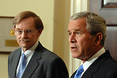 Washington, D.C. - May 30, 2007 -- United States President George W. Bush announces Robert Zoellick as his choice to be the next World Bank President from the Roosevelt Room of the White House on Wednesday, May 30, 2007. Zoellick is a former Deputy Secretary of State and U.S. Trade Representative.<br /> Credit:  Roger L. Wollenberg - Pool via CNP