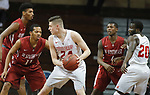 SIOUX FALLS, SD - MARCH 9:  Kyle Mangas #24 of Indiana Wesleyan drives toward Kerry Smith #11 of IU Southeast at the 2018 NAIA DII Men's Basketball Championship at the Sanford Pentagon in Sioux Falls. (Photo by Dick Carlson/Inertia)