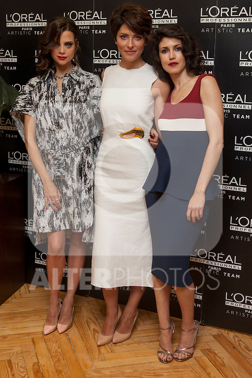 Spanish actress Macarena Gomez, Barbara Lennie and Nerea Barros pose for photographers during a presentation for a sponsor of the Goya Awards with hairdressers and Makeup artist at Academia de Cinema in Madrid January 14, 2015, Spain. (ALTERPHOTOS / Nacho Lopez)
