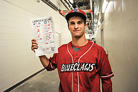 Starting pitcher Nick Fanti (20) of the Lakewood BlueClaws was awarded the lineup card after his combined no-hitter against the Columbia Fireflies on Saturday, May 6, 2017, at Spirit Communications Park in Columbia, South Carolina. Fanti pitched a scoreless 8 and two-thirds innings, with Trevor Bettencourt picking up the final out for a 1-0 win. (Tom Priddy/Four Seam Images)