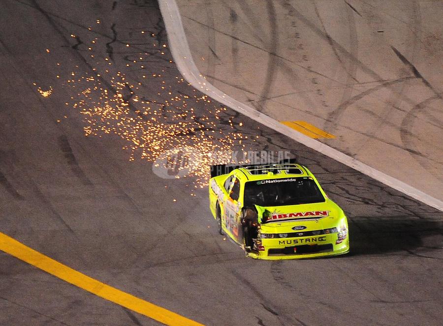 Jul. 2, 2010; Daytona Beach, FL, USA; NASCAR Nationwide Series driver Paul Menard (98) after crashing during the Subway Jalapeno 250 at Daytona International Speedway. Mandatory Credit: Mark J. Rebilas-