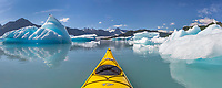 Panorma of Sea kayaking in Bear Glacier Lagoon, Kenai Fjords National Park, southcentral, Alaska.