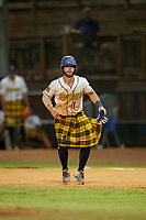 Savannah Bananas Bill Leroy (1) leads off during a Coastal Plain League game against the Macon Bacon on July 15, 2020 at Grayson Stadium in Savannah, Georgia.  Savannah wore kilts for their St. Patrick's Day in July promotion.  (Mike Janes/Four Seam Images)
