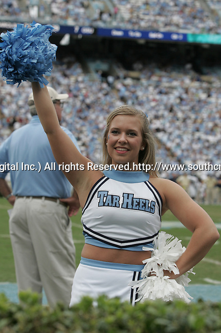 October 10, 2009: University of North Carolina cheerleaders. The North Carolina Tarheels defeated the Georgia Southern Eagles 42-12 at Kenan Stadium in Chapel Hill, North Carolina.