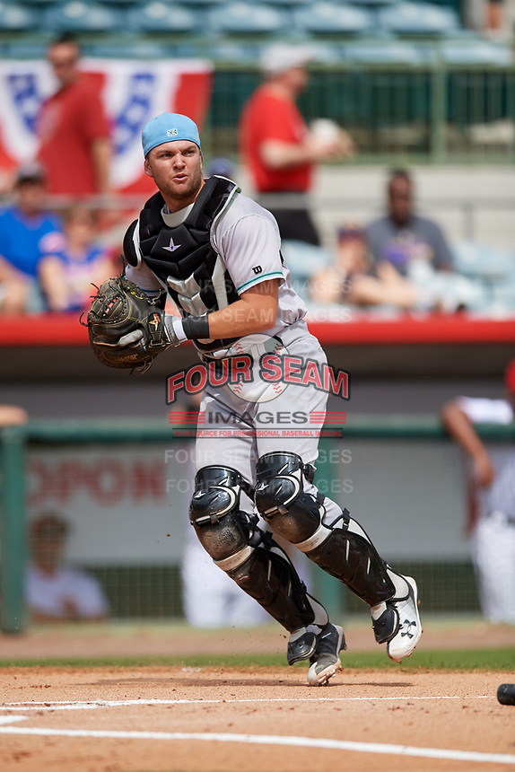 Daytona Tortugas catcher Cassidy Brown (28) during a game against the Florida Fire Frogs on April 8, 2018 at Osceola County Stadium in Kissimmee, Florida.  Daytona defeated Florida 2-1.  (Mike Janes/Four Seam Images)