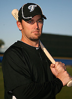 March 1, 2010:  Outfielder Jeremy Reed (7) of the Toronto Blue Jays poses for a photo during media day at Englebert Complex in Dunedin, FL.  Photo By Mike Janes/Four Seam Images