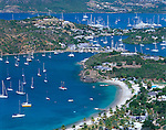 Antigua, West Indies   <br /> View of English Harbor's inner bay and distant Falmouth Harbor from Shriley Heights - Leeward Caribbean Islands