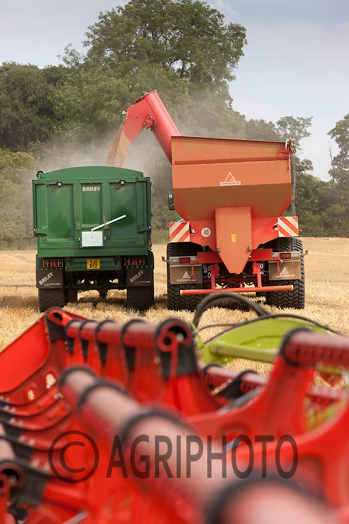 Chaser bin being unloaded into a grain trailer<br /> Picture Tim Scrivener 07850 303986